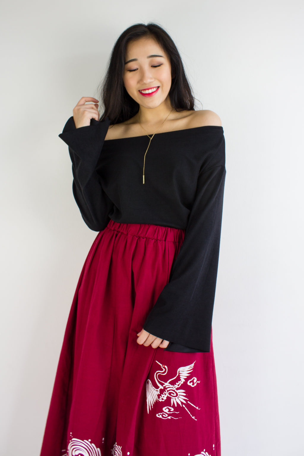 So Cozy Bell Sleeves Top in Black - TOPS - Peep Boutique