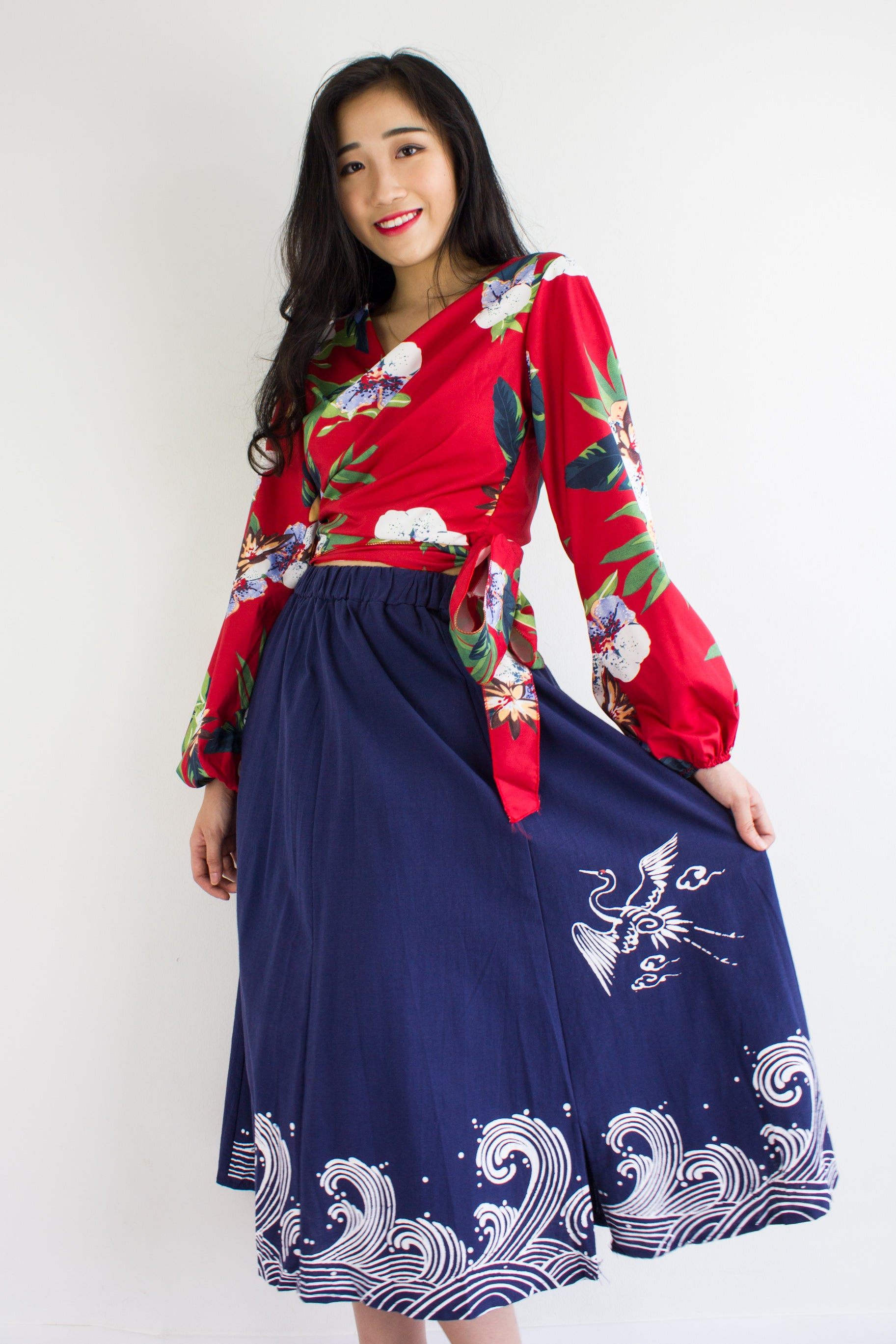 HeLang Linen Midi Skirt in Navy Blue