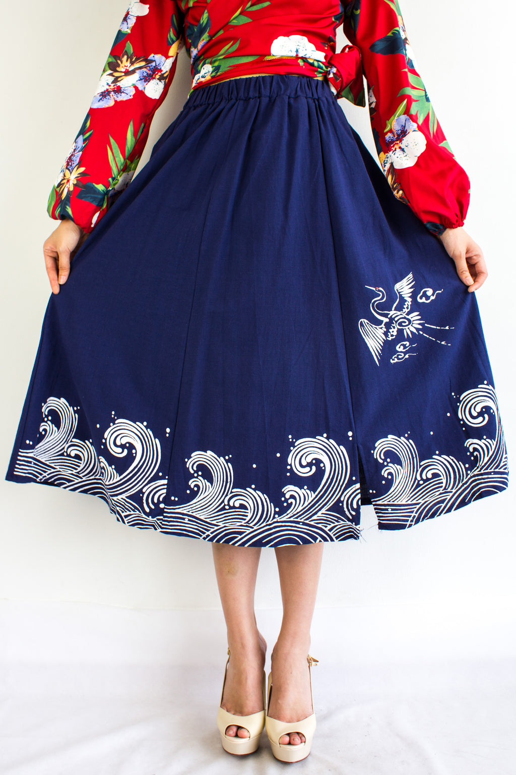 HeLang Linen Midi Skirt in Navy Blue - BOTTOMS - Peep Boutique
