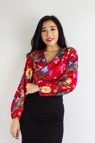 Garden Party Wrap Top in Red Queen