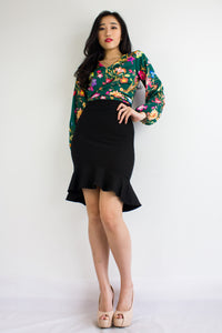 Ruffle My Hems Fitted Skirt in Black - BOTTOMS - Peep Boutique