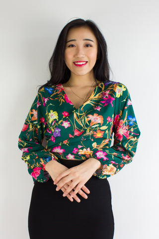 Garden Party Wrap Top in Forest Flowers