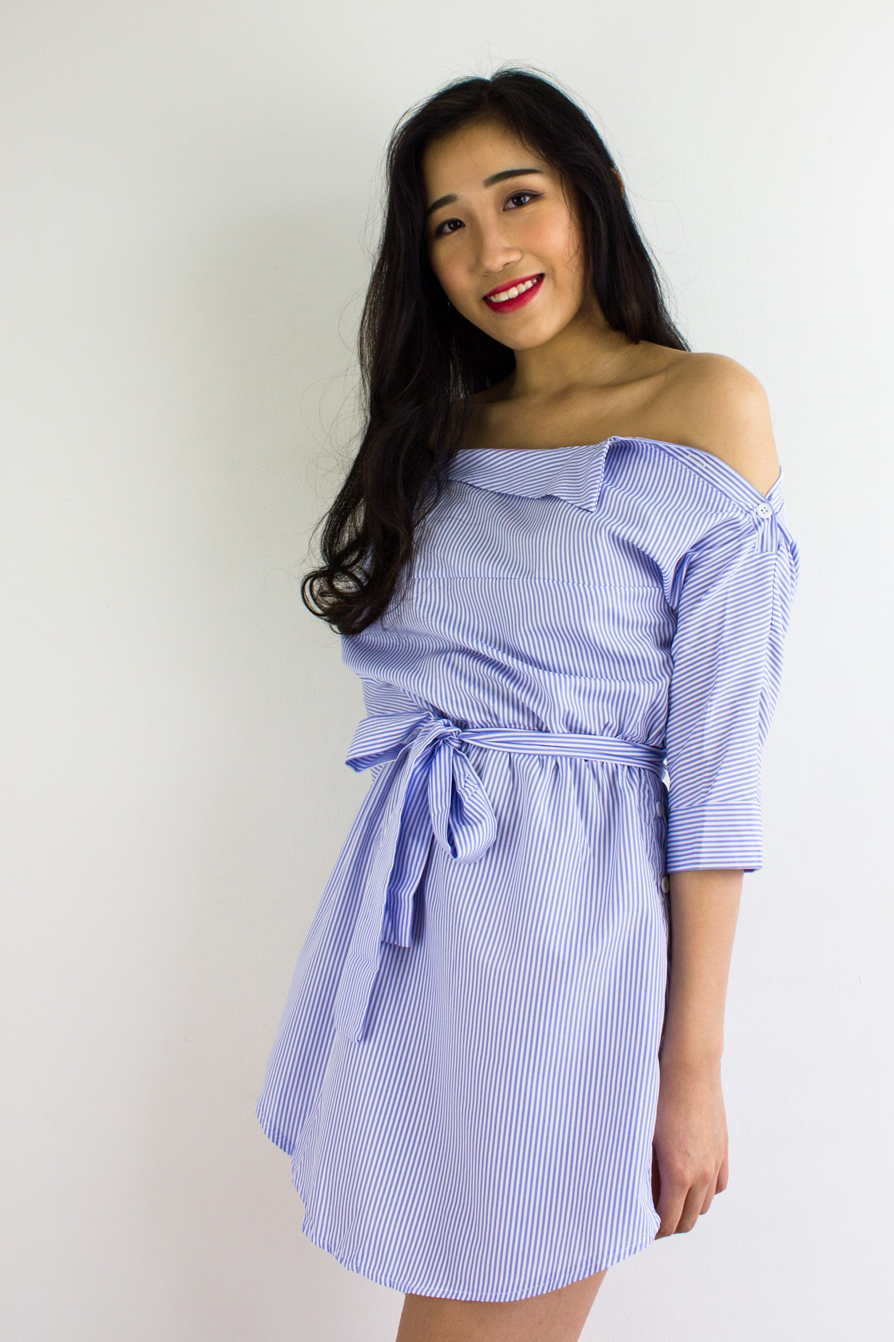 It's A Toga Line Dress in Blue Stripes