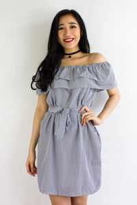 Get In Line Ruffle Dress in Black - DRESSES - Peep Boutique