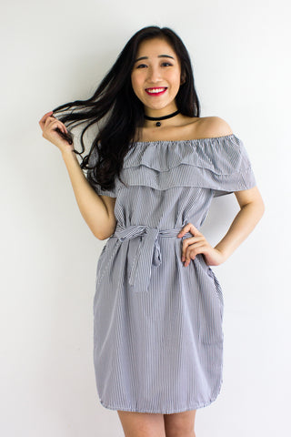 Get In Line Ruffle Dress in Black