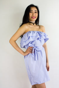 Get In Line Ruffle Dress in Light Blue - DRESSES - Peep Boutique