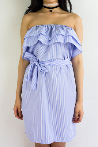 Get In Line Ruffle Dress in Light Blue