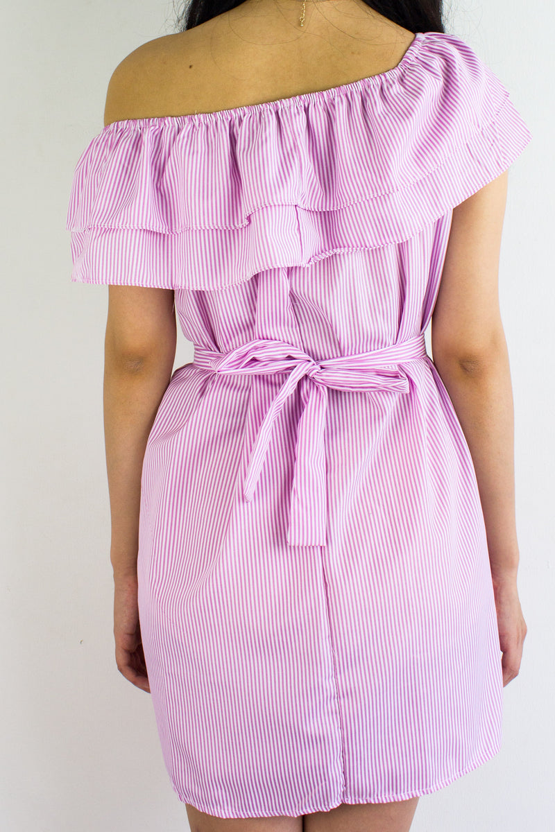 Get In Line Ruffle Dress in Pink - DRESSES - Peep Boutique