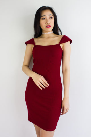 On And Off Shoulder Mini Dress in Wine Red