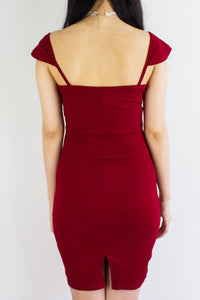 On And Off Shoulder Mini Dress in Wine Red - DRESSES - Peep Boutique