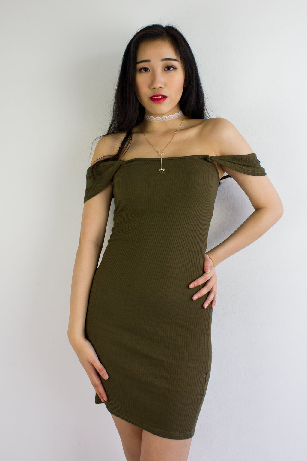 On And Off Shoulder Mini Dress in Army Green - DRESSES - Peep Boutique