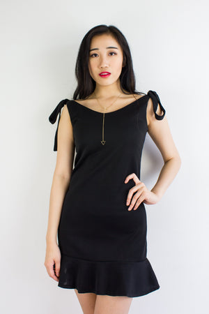 Little Black Trumpet Dress - DRESSES - Peep Boutique