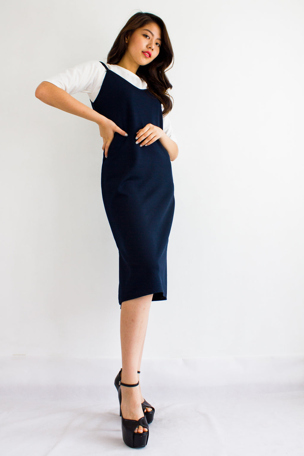 Classic Two Piece Midi Slip Dress in Navy Blue - DRESSES - Peep Boutique