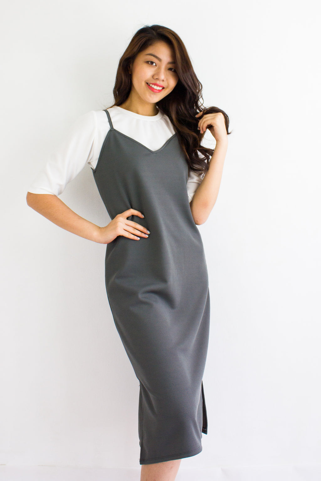 Classic Two Piece Midi Slip Dress in Charcoal Grey - DRESSES - Peep Boutique
