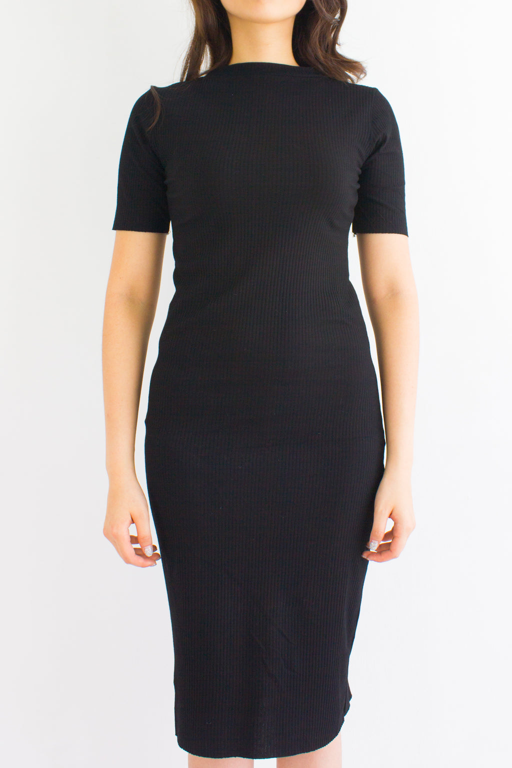 Classic Fitted Ribbed Midi Dress in Black - DRESSES - Peep Boutique