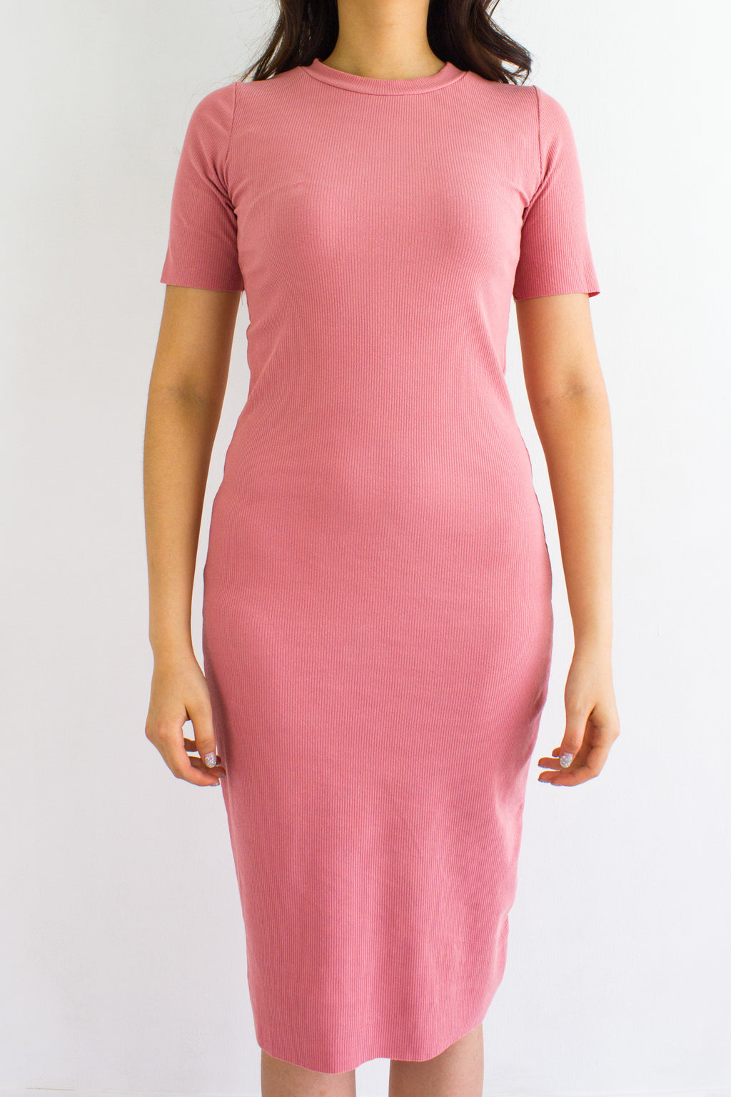 Classic Fitted Ribbed Midi Dress in Pink - DRESSES - Peep Boutique
