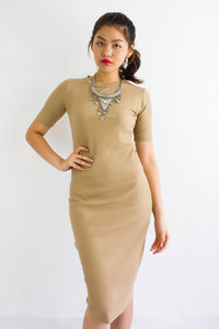 Classic Fitted Ribbed Midi Dress in Nude - DRESSES - Peep Boutique