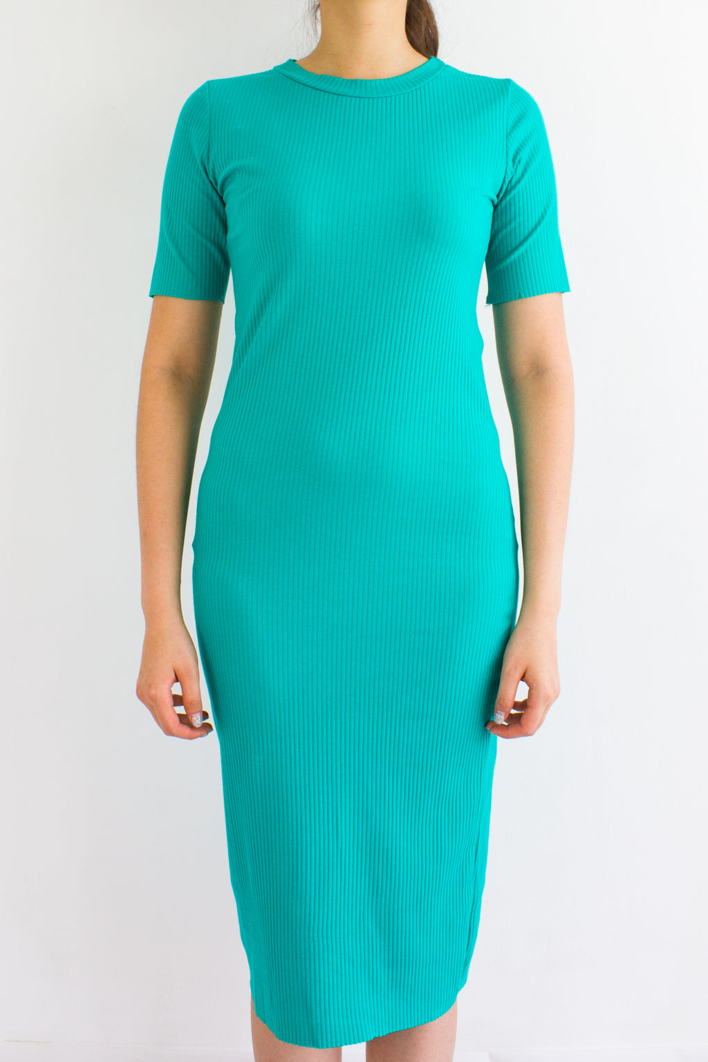 Classic Fitted Ribbed Midi Dress in Turquoise - DRESSES - Peep Boutique