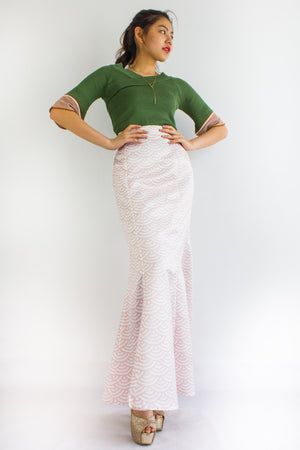 Shellie Mermaid Skirt in Coral - BOTTOMS - Peep Boutique