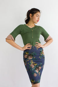 Vintage Floral Suede Midi Skirt in Ash Blue - BOTTOMS - Peep Boutique
