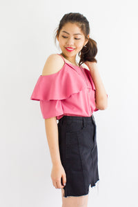 Denim I'm No Damsel In Distress Skirt in Black - BOTTOMS - Peep Boutique