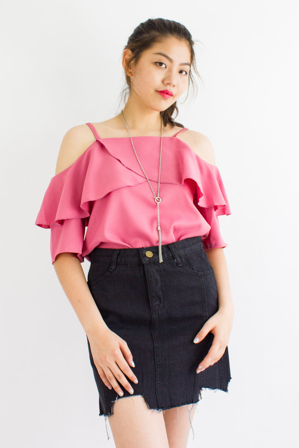 Happy Tiers Cold Shoulder Top in Pink - TOPS - Peep Boutique