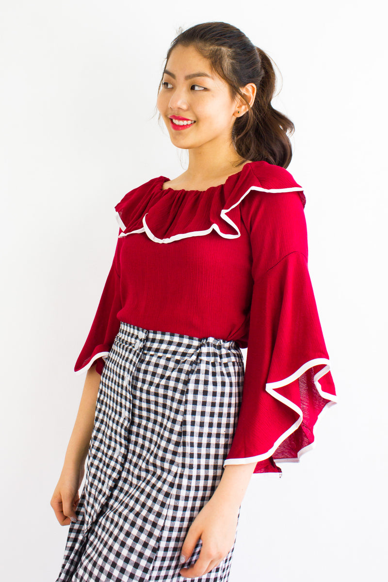 For The Drama Off Shoulder Top in Red - TOPS - Peep Boutique