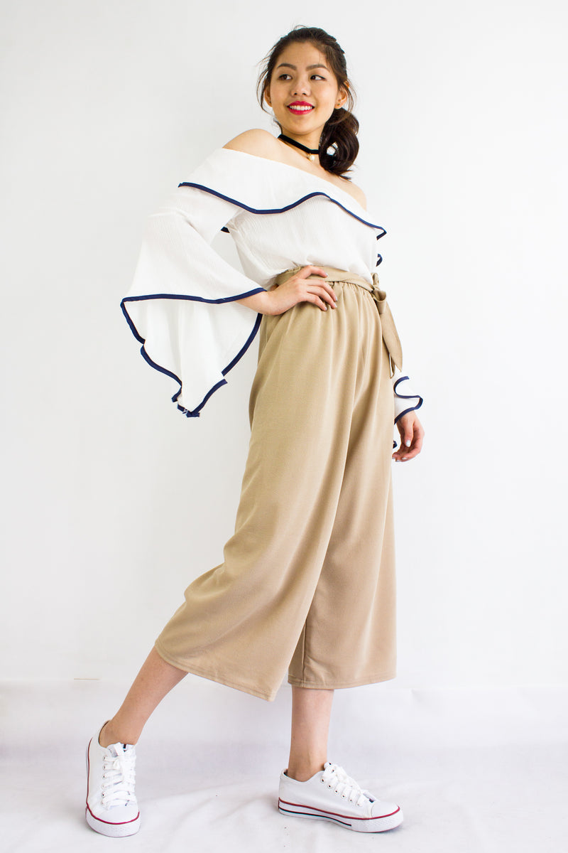 Sashay into Work and Play Culottes in Nude - BOTTOMS - Peep Boutique