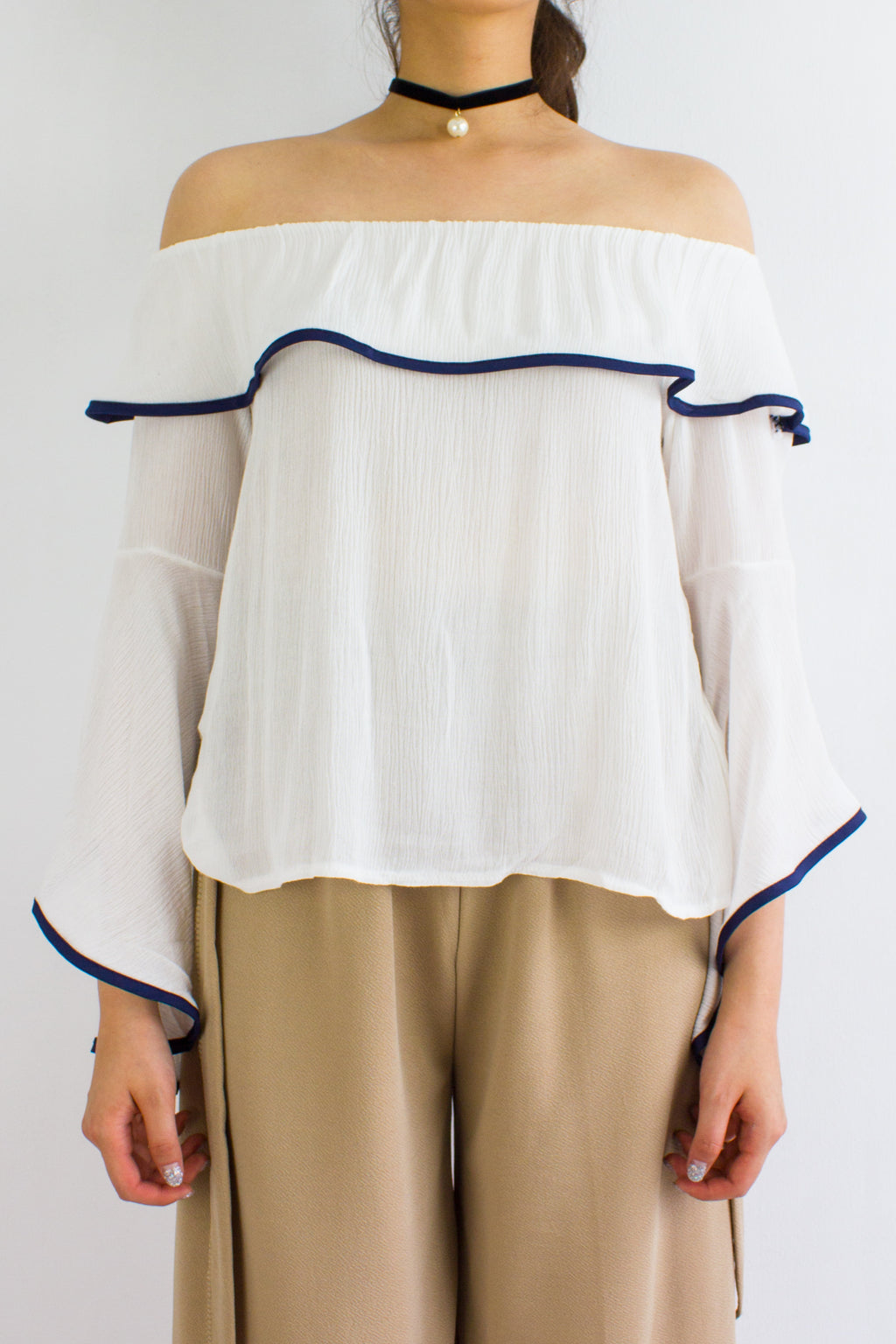 For The Drama Off Shoulder Top in White - TOPS - Peep Boutique