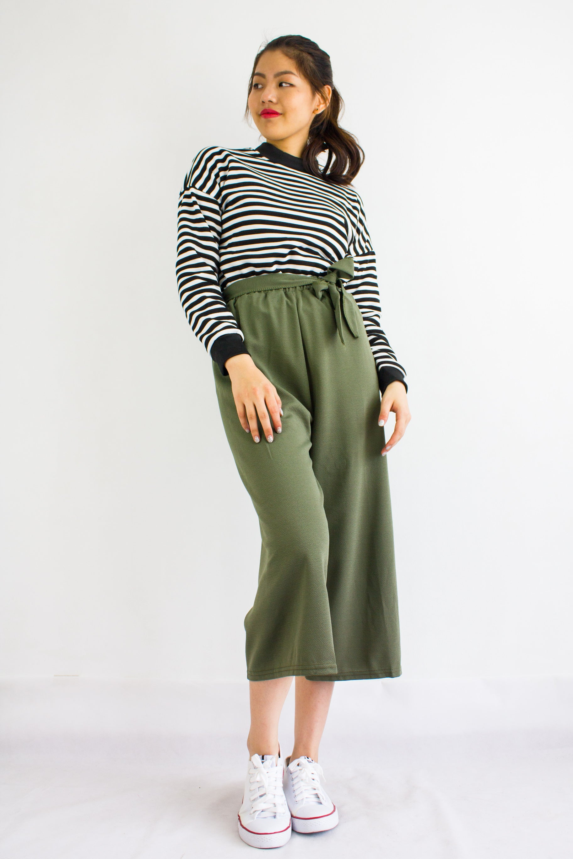 b906200099de Sashay into Work and Play Culottes in Army Green - BOTTOMS - Peep Boutique
