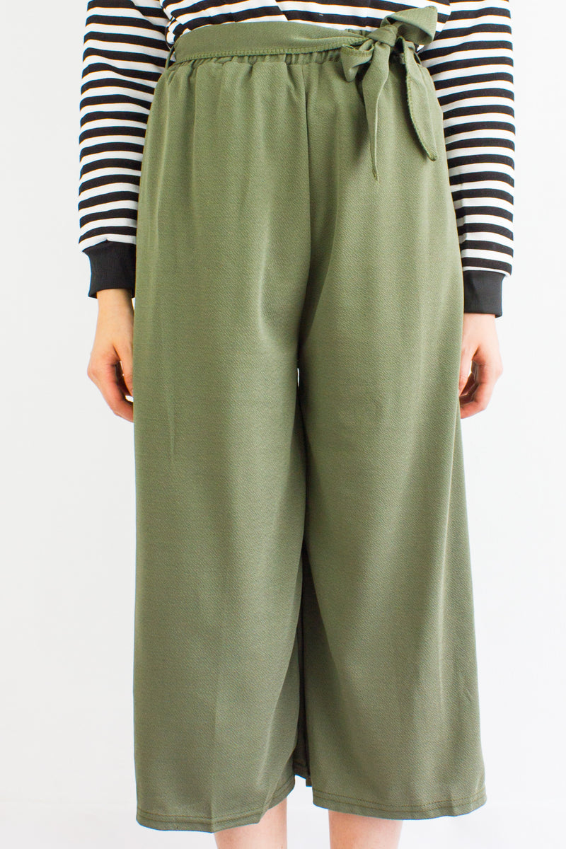 Sashay into Work and Play Culottes in Army Green - BOTTOMS - Peep Boutique