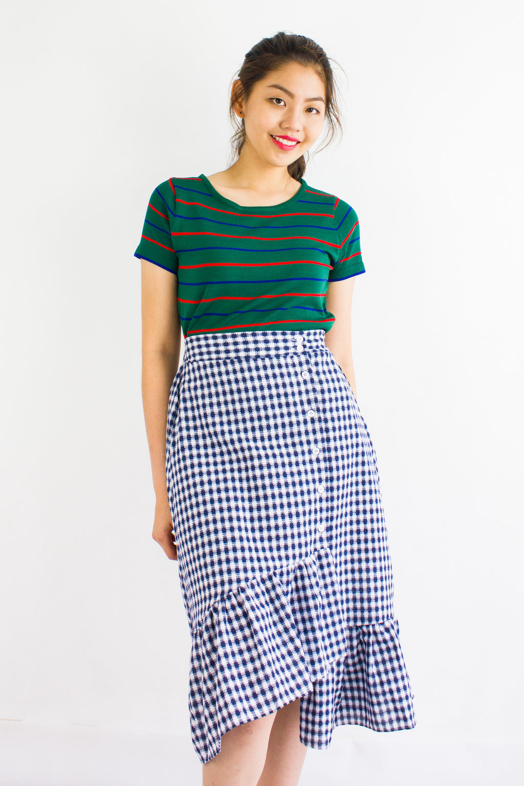 Gingham Go Ruffle Skirt in Navy Blue - BOTTOMS - Peep Boutique