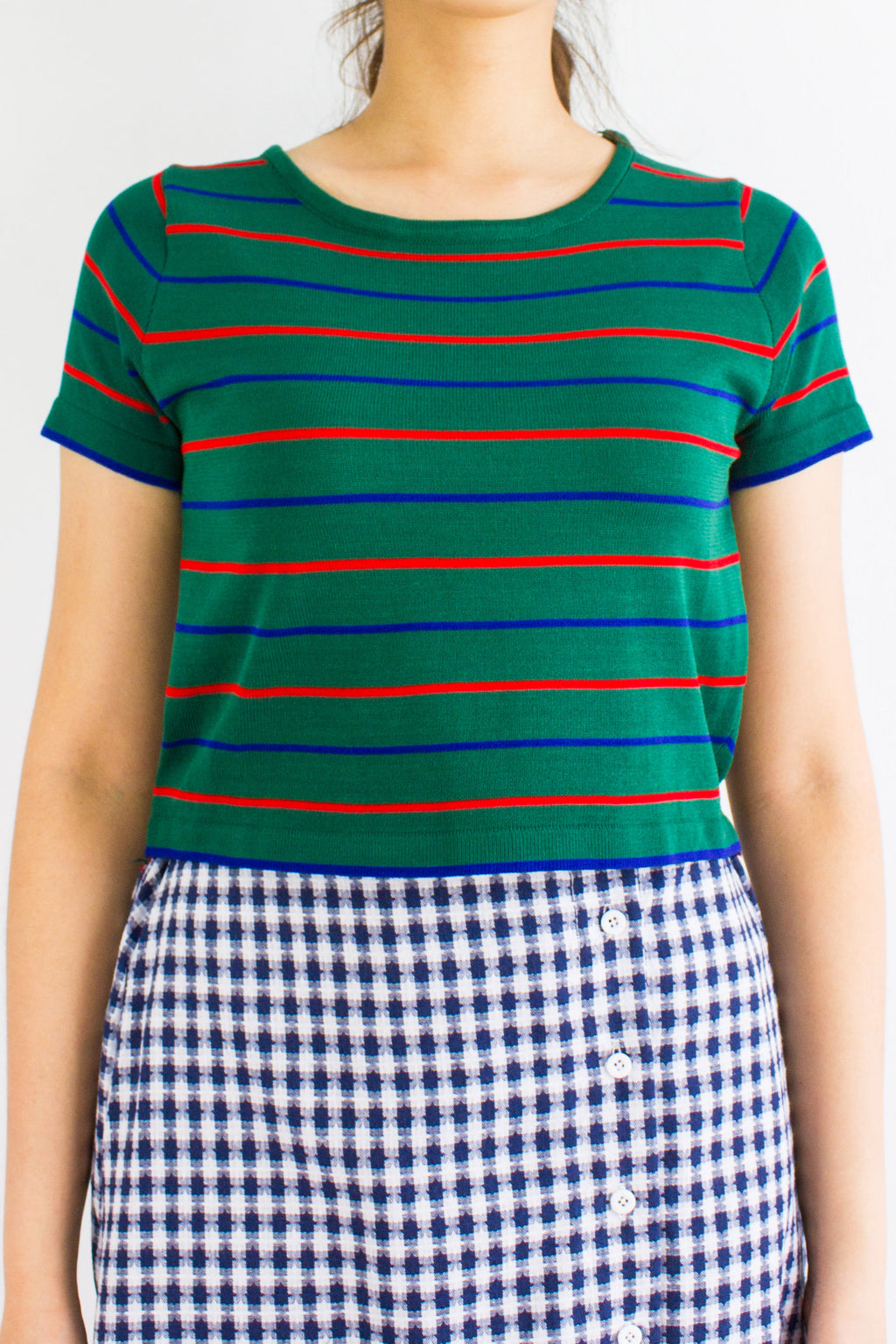 Oh Baby Baby Stripe Crop Tee in Forest Green - TOPS - Peep Boutique