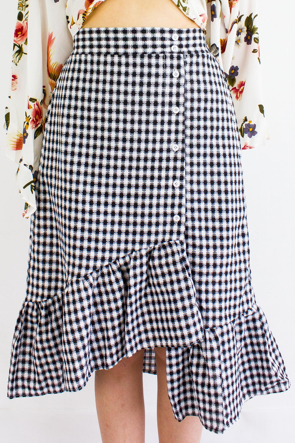 Gingham Go Ruffle Skirt in Black - BOTTOMS - Peep Boutique