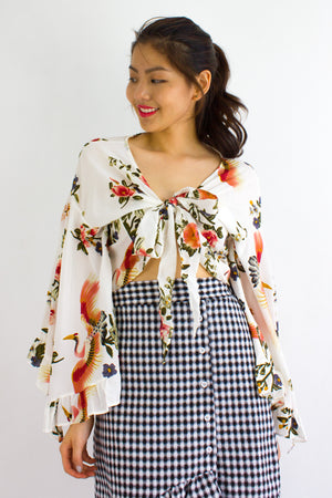 Oriental Floral Bell Sleeves Top in Cream Crane - TOPS - Peep Boutique