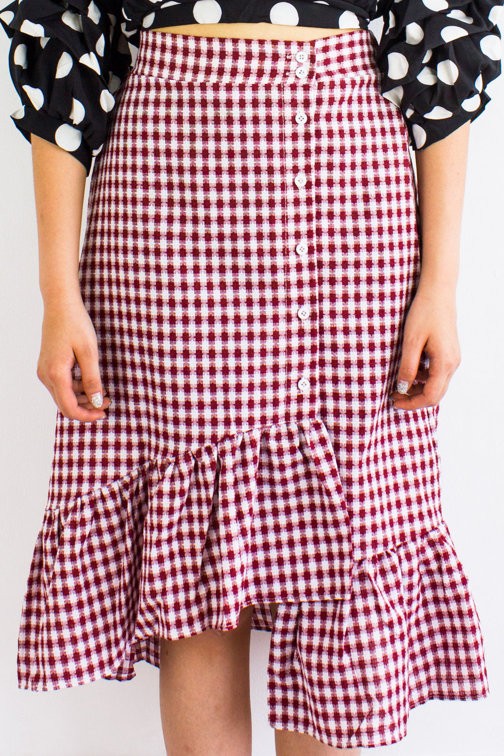 Gingham Go Ruffle Skirt in Wine Red - BOTTOMS - Peep Boutique