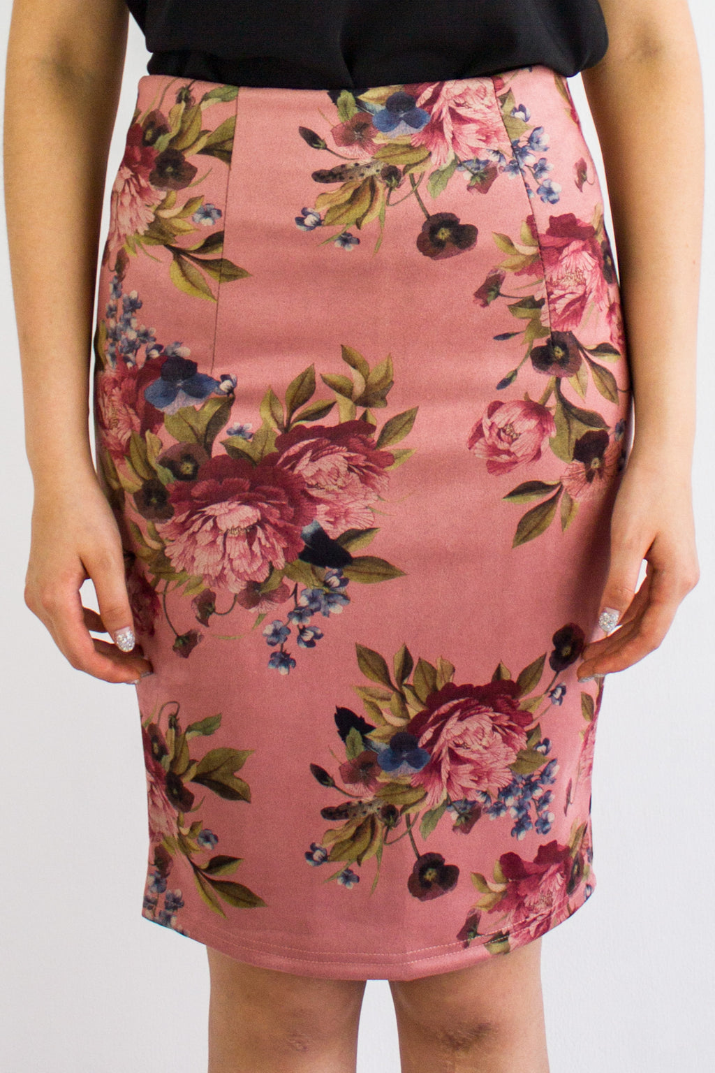 Vintage Floral Suede Midi Skirt in Pink - BOTTOMS - Peep Boutique