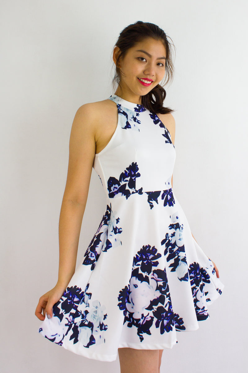 English Wallflower Skater Dress in White - DRESSES - Peep Boutique