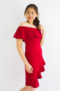 Let's Dance Ruffle Off Shoulder Dress in Red - DRESSES - Peep Boutique