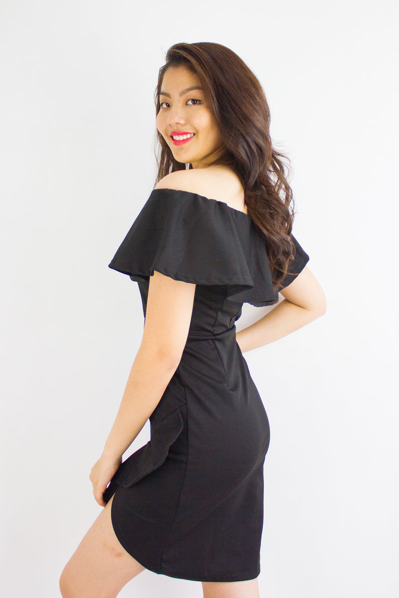 Let's Dance Ruffle Off Shoulder Dress in Black - DRESSES - Peep Boutique