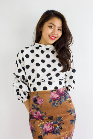 Spotlight Scrunch Sleeves Crop Top in White - TOPS - Peep Boutique