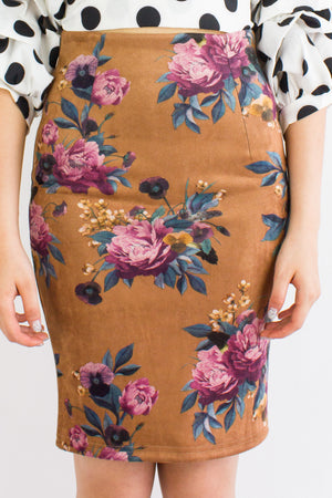 Vintage Floral Suede Midi Skirt in Brown - BOTTOMS - Peep Boutique