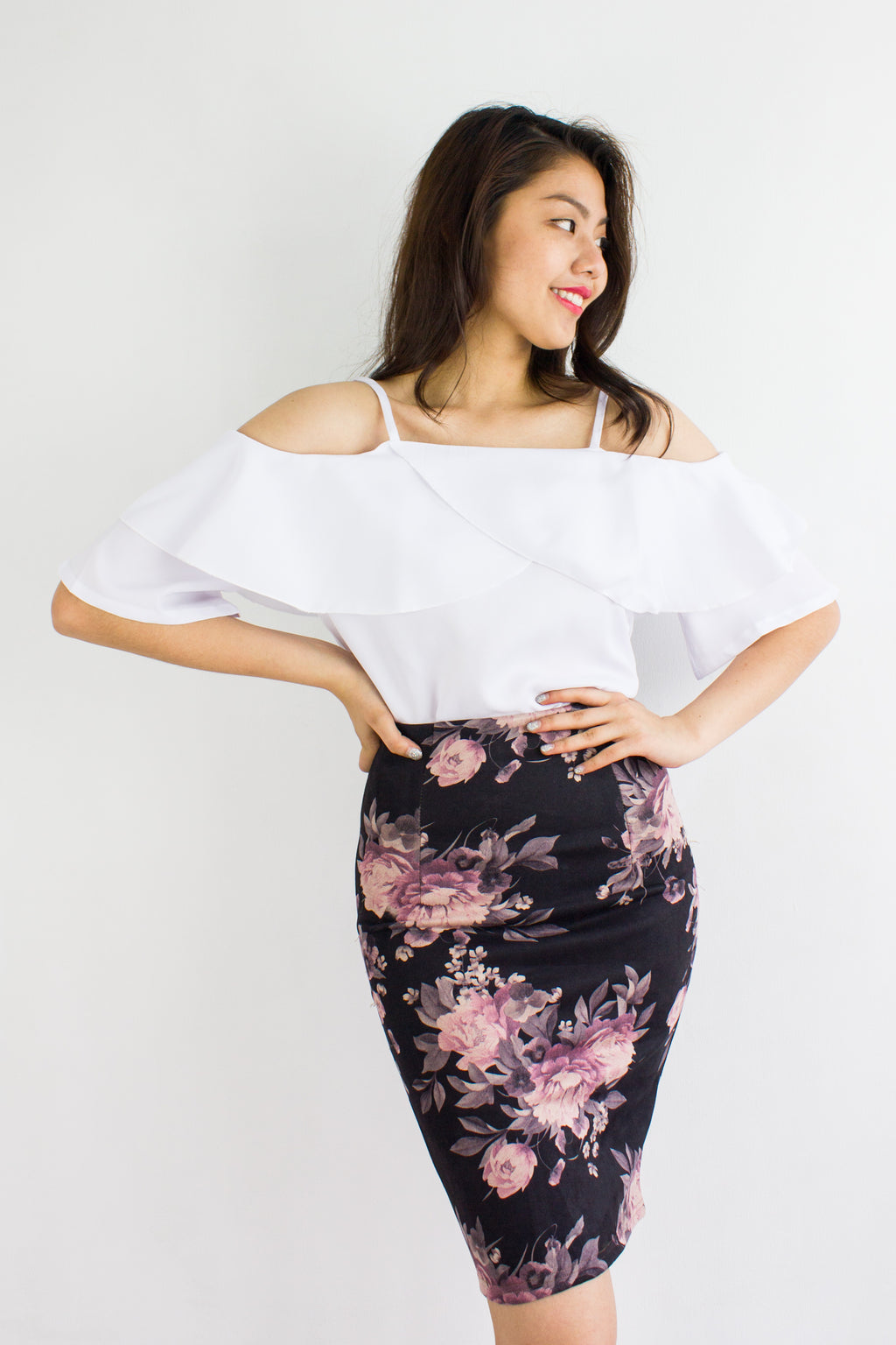 Vintage Floral Suede Midi Skirt in Black - BOTTOMS - Peep Boutique