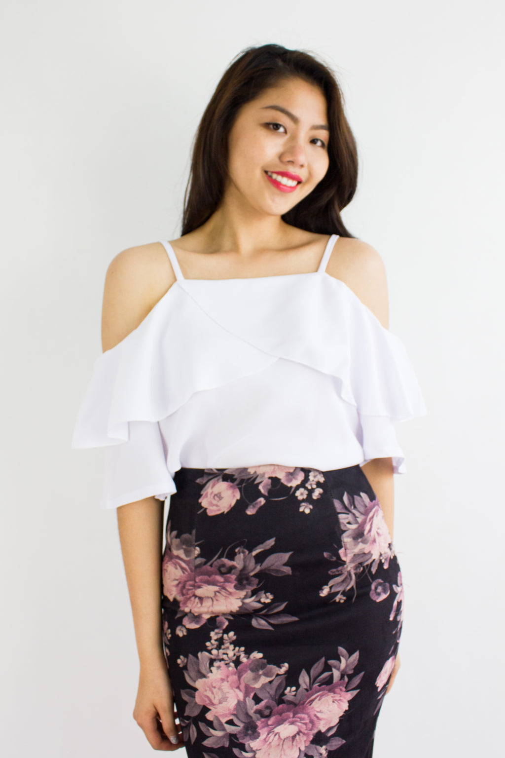 Happy Tiers Cold Shoulder Top in White - TOPS - Peep Boutique