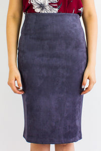 Classic Suede Fitted Midi Skirt in Charcoal Grey - BOTTOMS - Peep Boutique