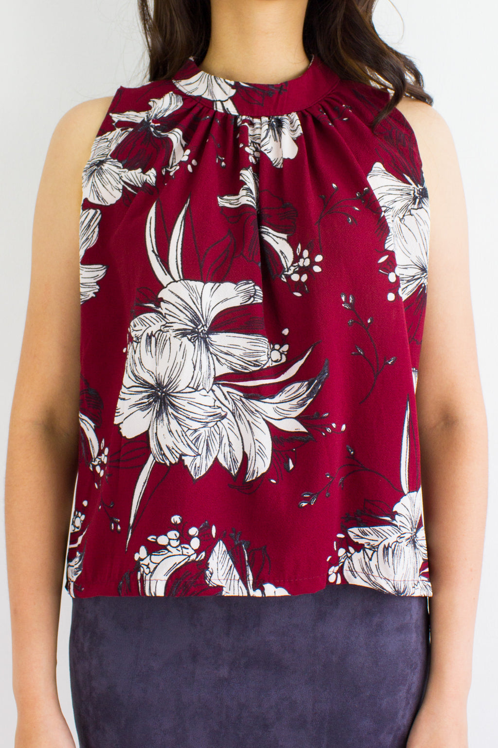 All Grown Up Floral Top in Maroon - TOPS - Peep Boutique