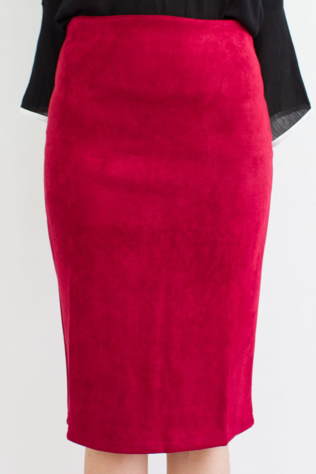 Classic Suede Fitted Midi Skirt in Wine Red - BOTTOMS - Peep Boutique