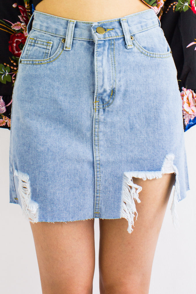 Shed A Tear Denim Mini Skirt in Light Blue - BOTTOMS- Peep Boutique