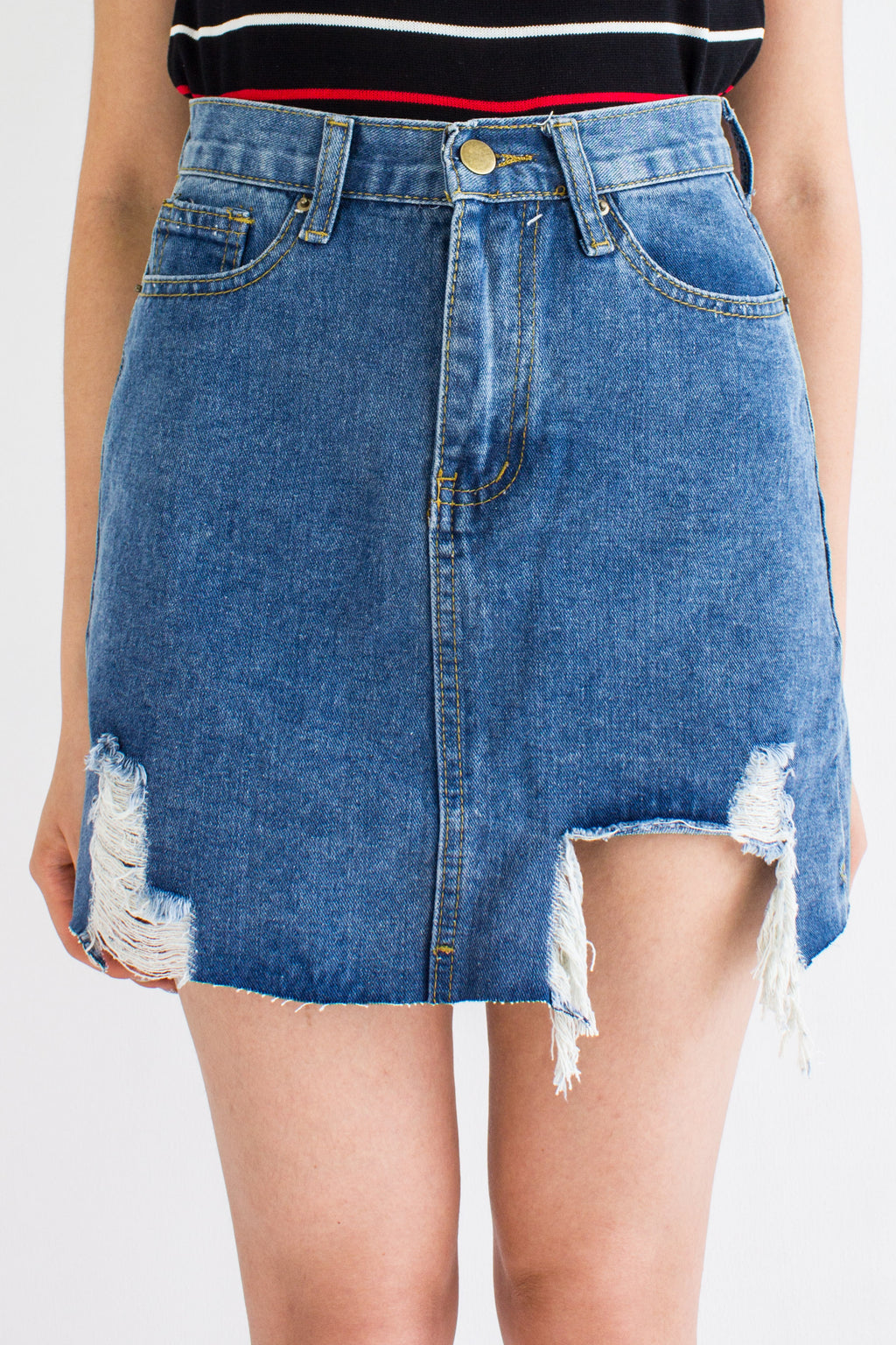Shed A Tear Denim Mini Skirt in Dark Blue - BOTTOMS - Peep Boutique