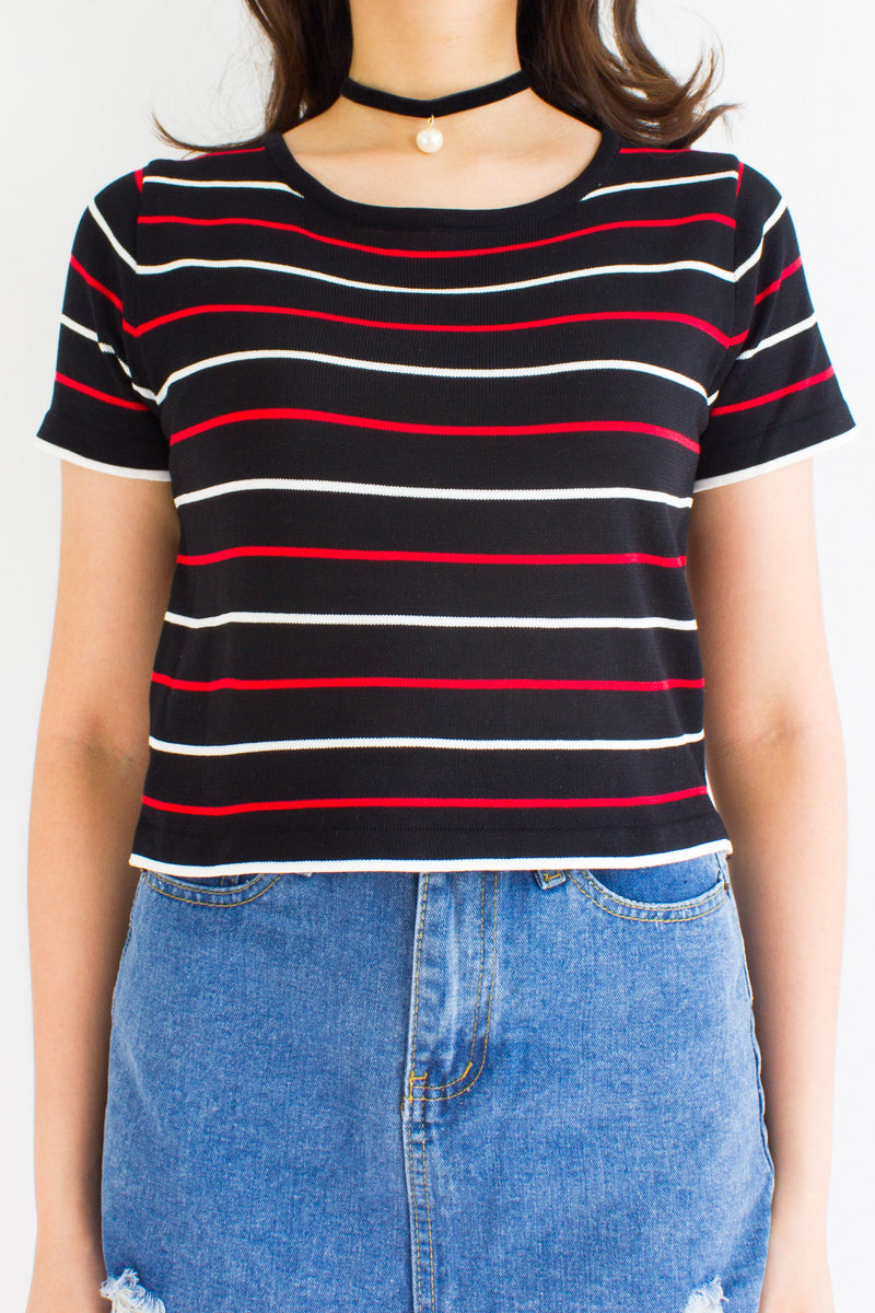 Oh Baby Baby Stripe Crop Tee in Black - TOPS - Peep Boutique